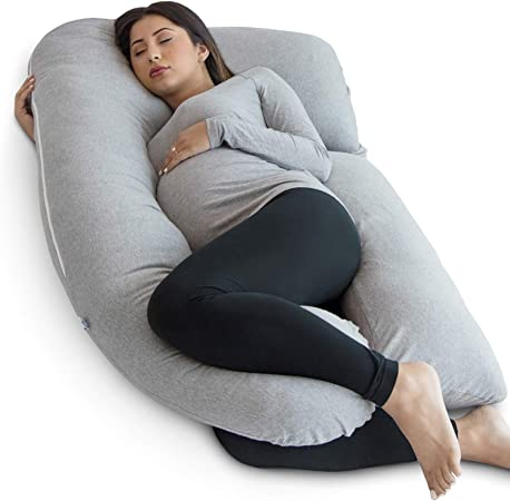 Pharmedoc Pregnancy Pillow, U Shape Full Body Pillow and Maternity Support with Detachable Extension Support for Back, Hips, Legs, Belly for