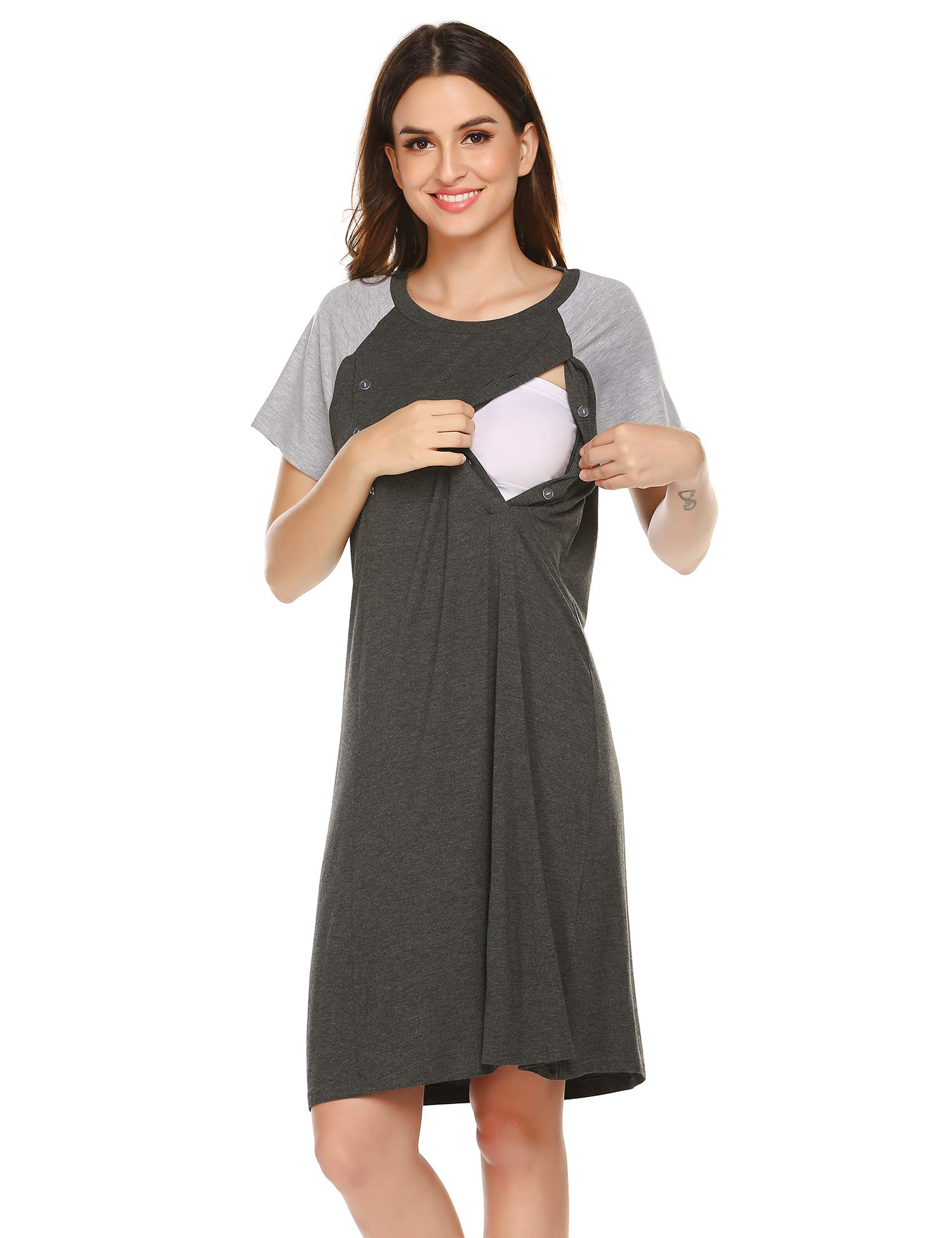 Ekouaer Plus Size Maternity Nightgown Womens Short Sleeve Sleepshirt Soft Cotton Nursing Nightwear(Deep Grey,Medium) by Ekouaer