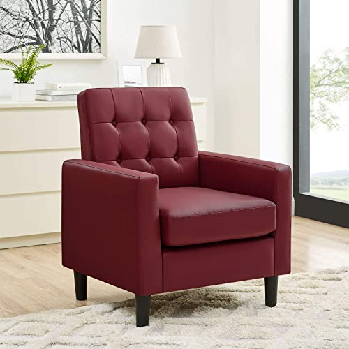 Living Room Armchair Modern Leather Arm Chair Upholstered Arm Chair Tufted Accent Chair Club Chair Reading Chair Single Sofa