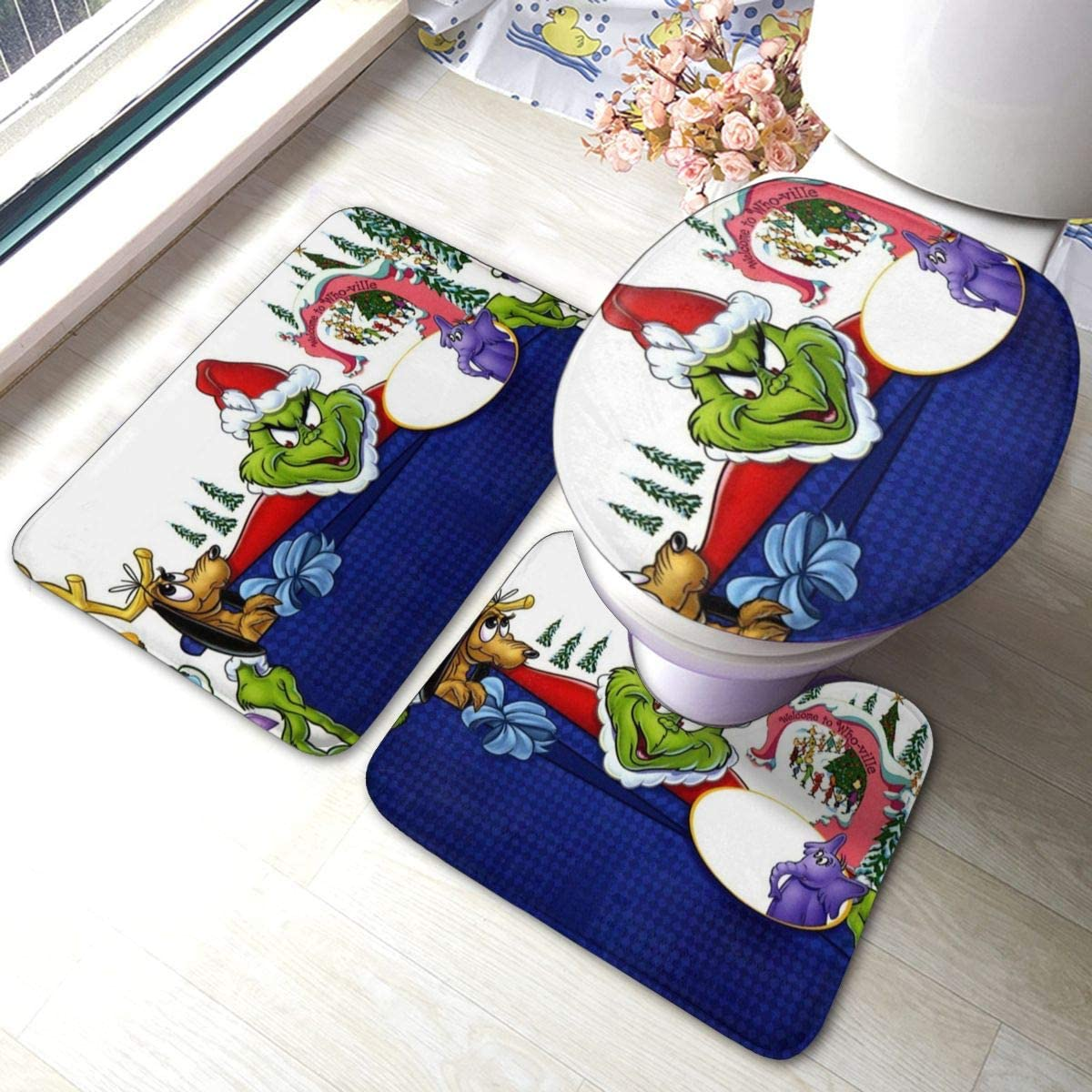 Amazon Com Dr Seuss How The Grinch Stole Christmas Sandy Claws Bathroom Rug 3 Pack Bath Mat Set Thick Anti Skid Pads Bath Mat Contour Toilet Lid Cover Home Kitchen