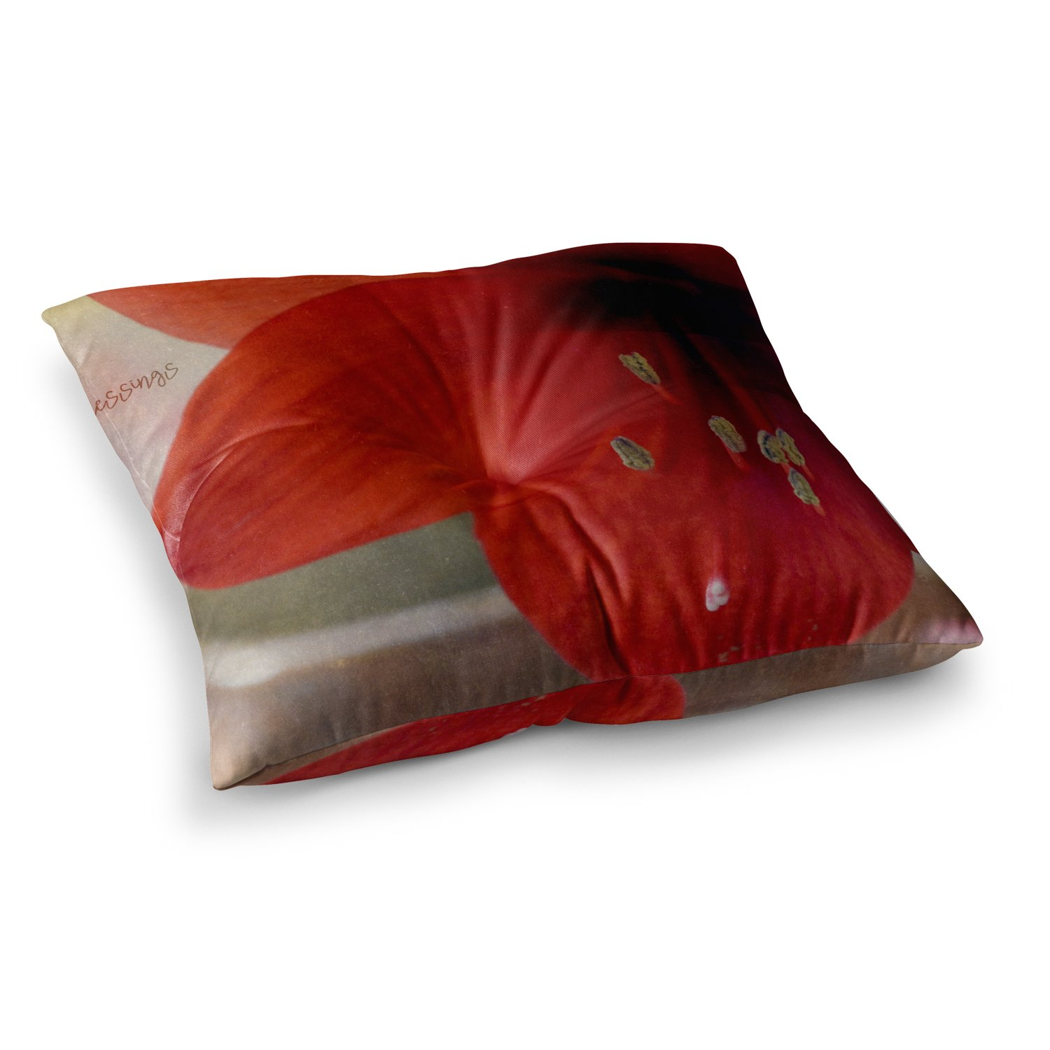 Kess InHouse Robin Dickinson Count Your Blessings Red Floral 23 x 23 Square Floor Pillow