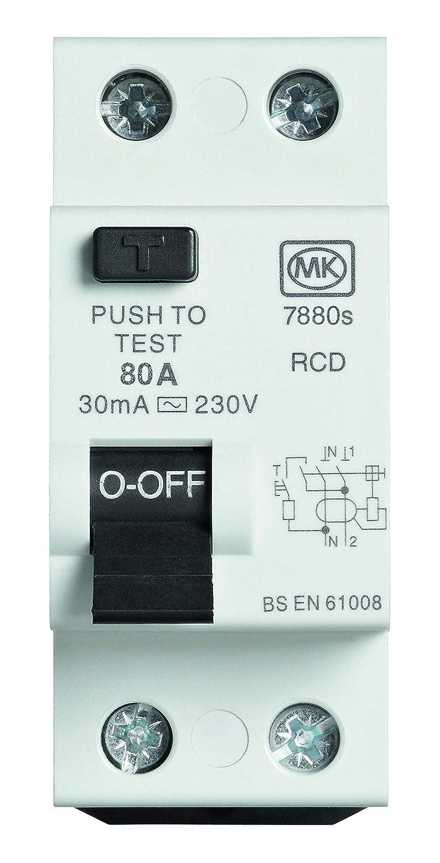MK Sentry 07880S 80A 30mA 6KA Rated 230V Two Module Double Pole Type AC