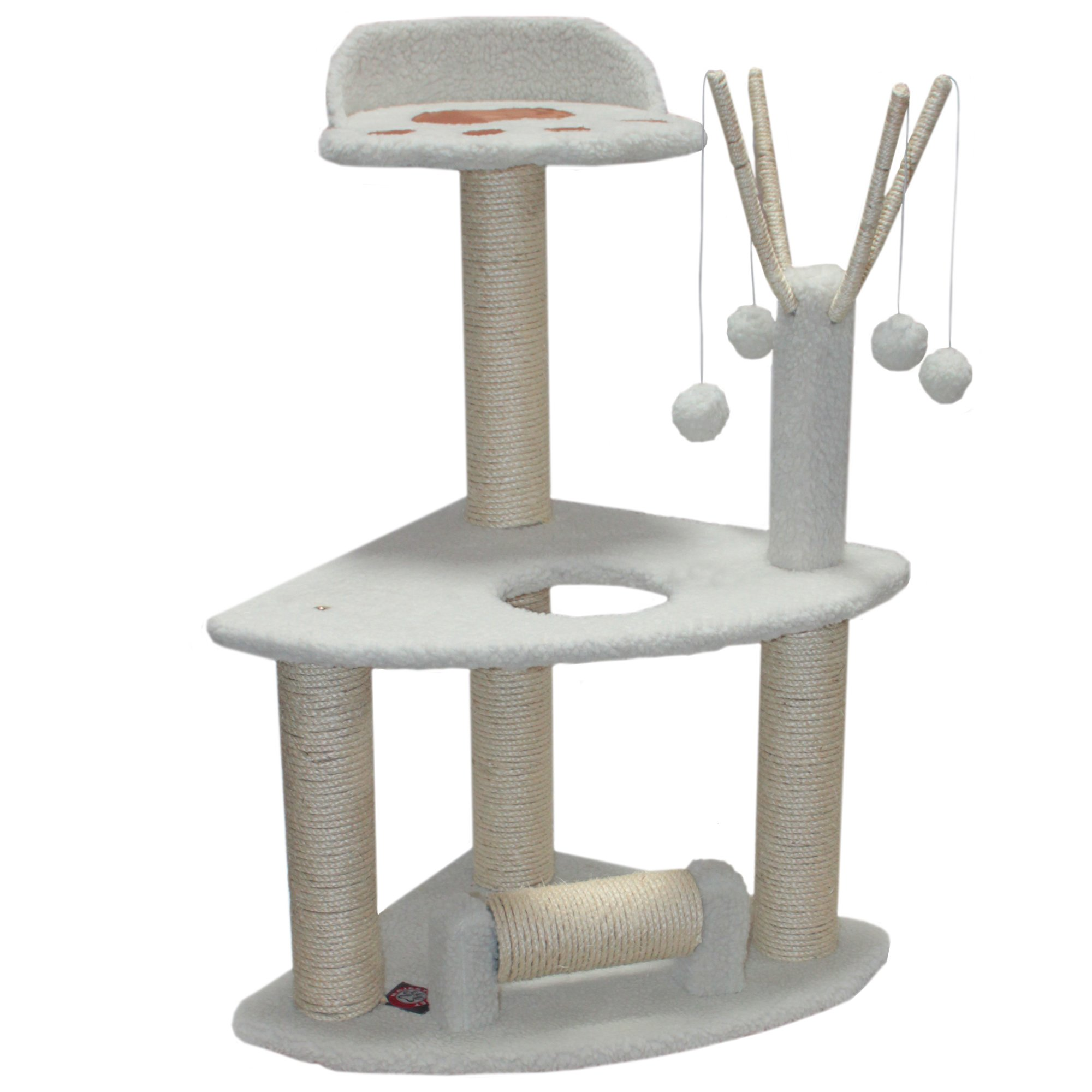 Majestic Pet Products 36 inch Cream Bungalow Cat Furniture Condo House Scratcher Multi Level Pet Activity Tree