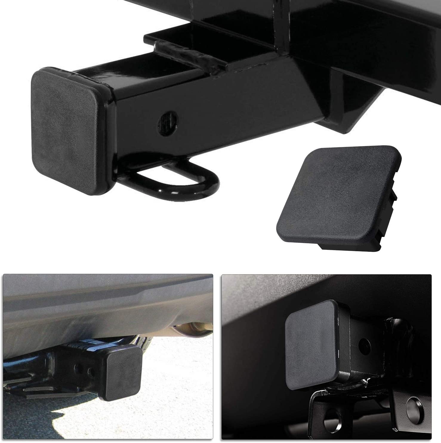 2 Black Hitch Ball Insert Compatible for Toyota Mercedes Mopar Audi F150 Ford GMC Truck Chevy Jeep Lexus 4runner CZC AUTO Trailer Hitch Cover 2 inch Tow Receiver Tube Plug Cap 2X2 1Pack, Black