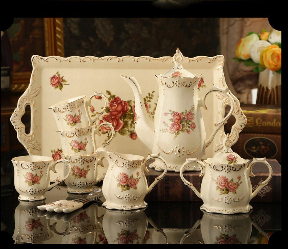DHG European-Style Coffee Set Home with Ceramic Tray British Afternoon Tea Coffee Set Coffee Cup Set to Send Coffee Spoon,A by DHG