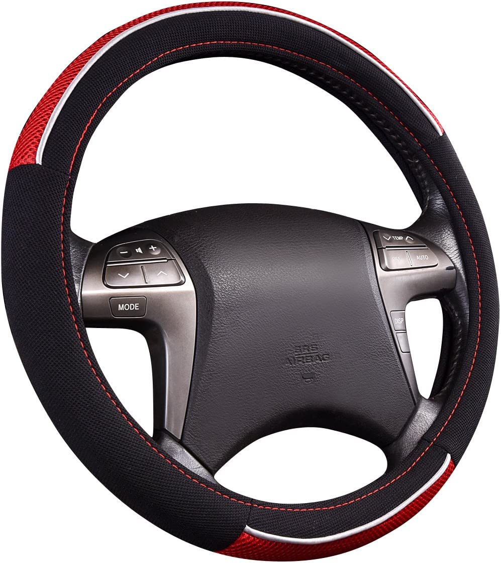 NEW ARRIVAL-HORSE KINGDOM Genuine Leather Steering Wheel Covers Breatheable Air-Mesh Non-Slip Set Beige