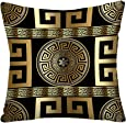 Tyfuty Greek-Key Throw Pillow Covers, Pillowcases Modern Geometric Greek Pattern Gold Wallpaper with Key Cushion Use for Living Room Bedroom Sofa Office 20 x 20 inch