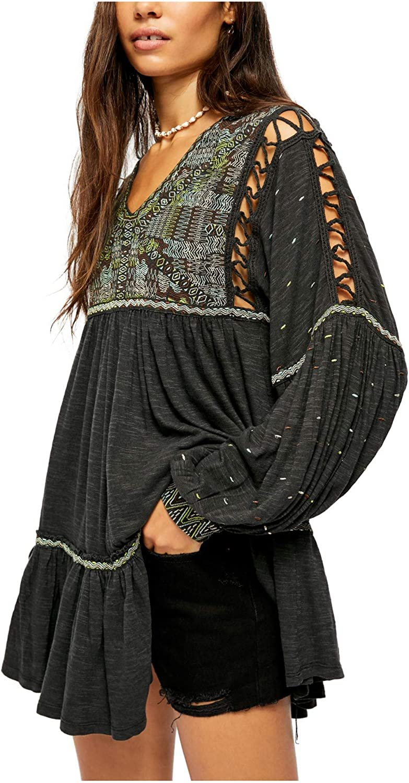 Puff sleeves linen top Bohemian blouse ROMANCE Linen balloon sleeve blouse
