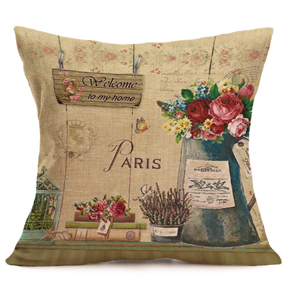LIEJIE 45cm x 45cm Fashion Home Decor Cotton Linen Throw Pillow Case Sofa Waist Premium Pillow Protectors Decorative Upholstery