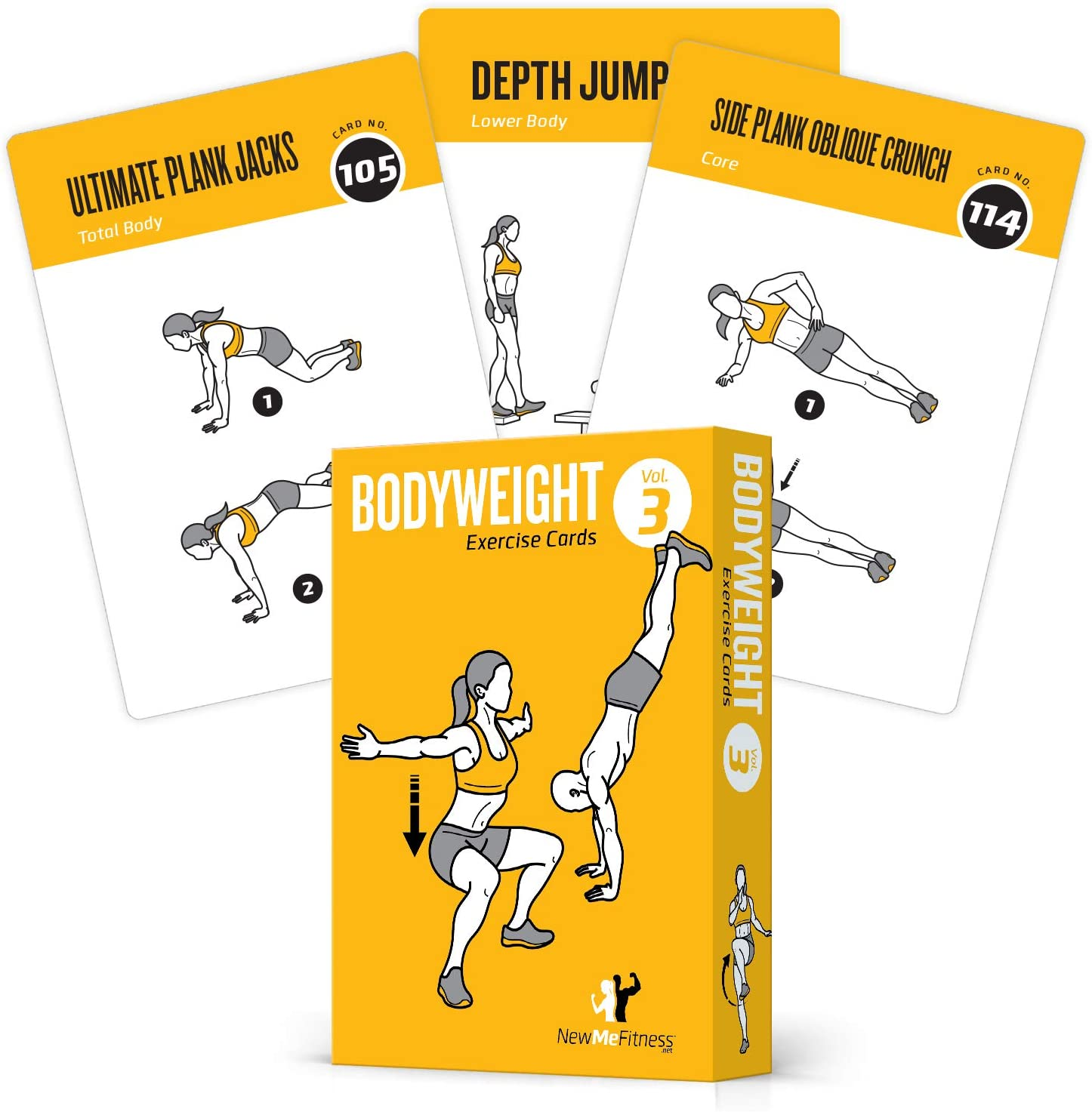Exercise Cards BODYWEIGHT - Home Gym Workout Personal Trainer Fitness Program Tones Core Ab Legs Glutes Chest Biceps Total Upper Body Workouts Calisthenics Training Routine