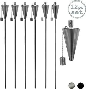 Juego de antorchas de jardín con aceite de parafina - Diseño triangular - 146 cm - Pack de 6: Amazon.es: Hogar