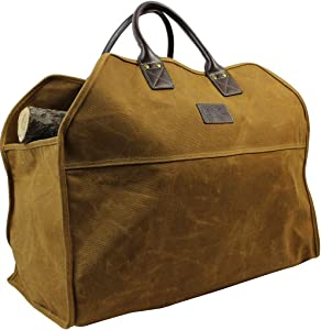 Heavy Duty Wax Canvas Log Carrier Tote,Large Fire Wood Bag,Durable Firewood Holder,Fireplace Wood Stove Accessories Storage Bag for Fire Pit