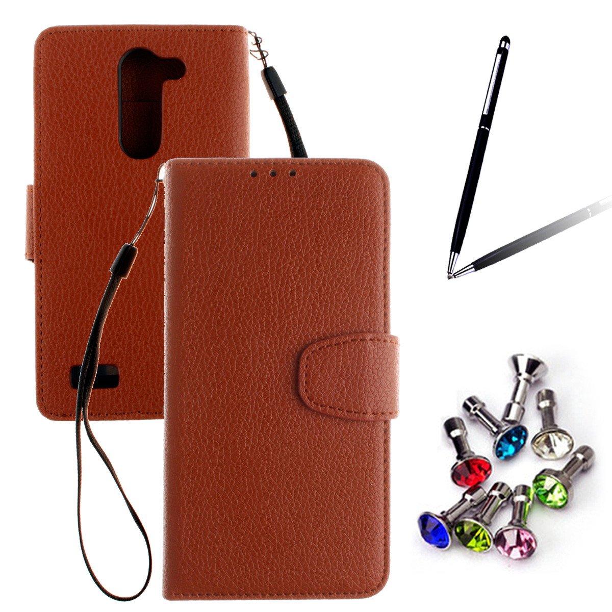 ANNNWZZD Premium PU Cuero Funda Cartera Tapa Carcasa para LG L Bello D331 D335 D337 Piel Flip Case Cover Con Ranura Para Tarjetas + Soporte + Cierre ...