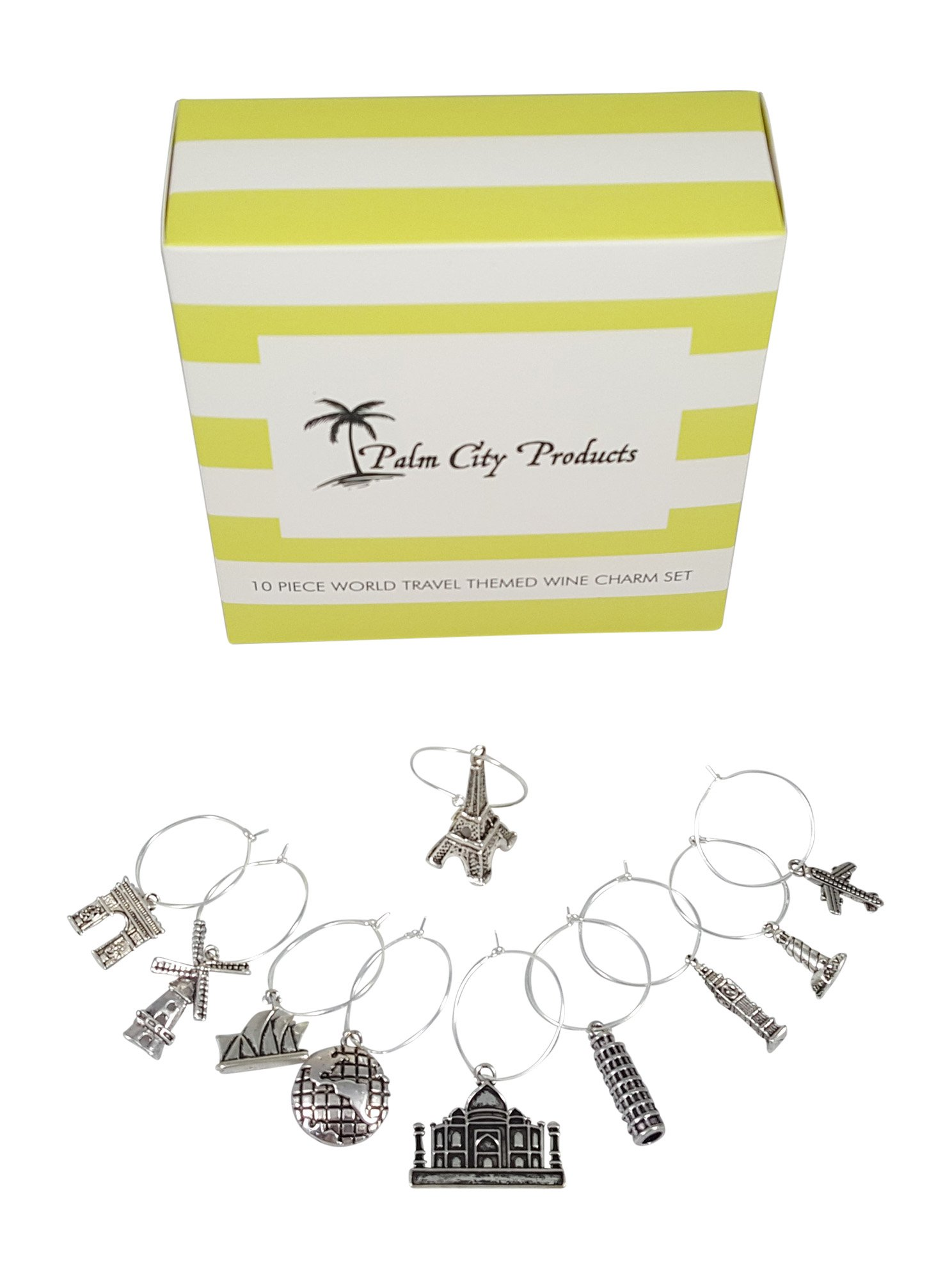 10 Piece World Travel Themed Wine Charm Set by Palm City Products