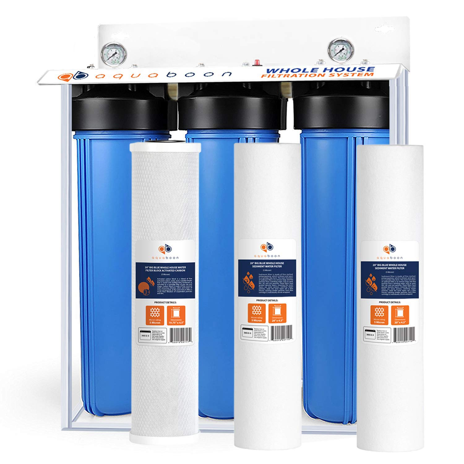 3-Stage Big Blue 20'' Whole House Filtration System by Aquaboon+ Freestanding Steal Frame+Pressure Gauges+Carbon Block+2 of Sediment Filter Cartridges by Aquaboon