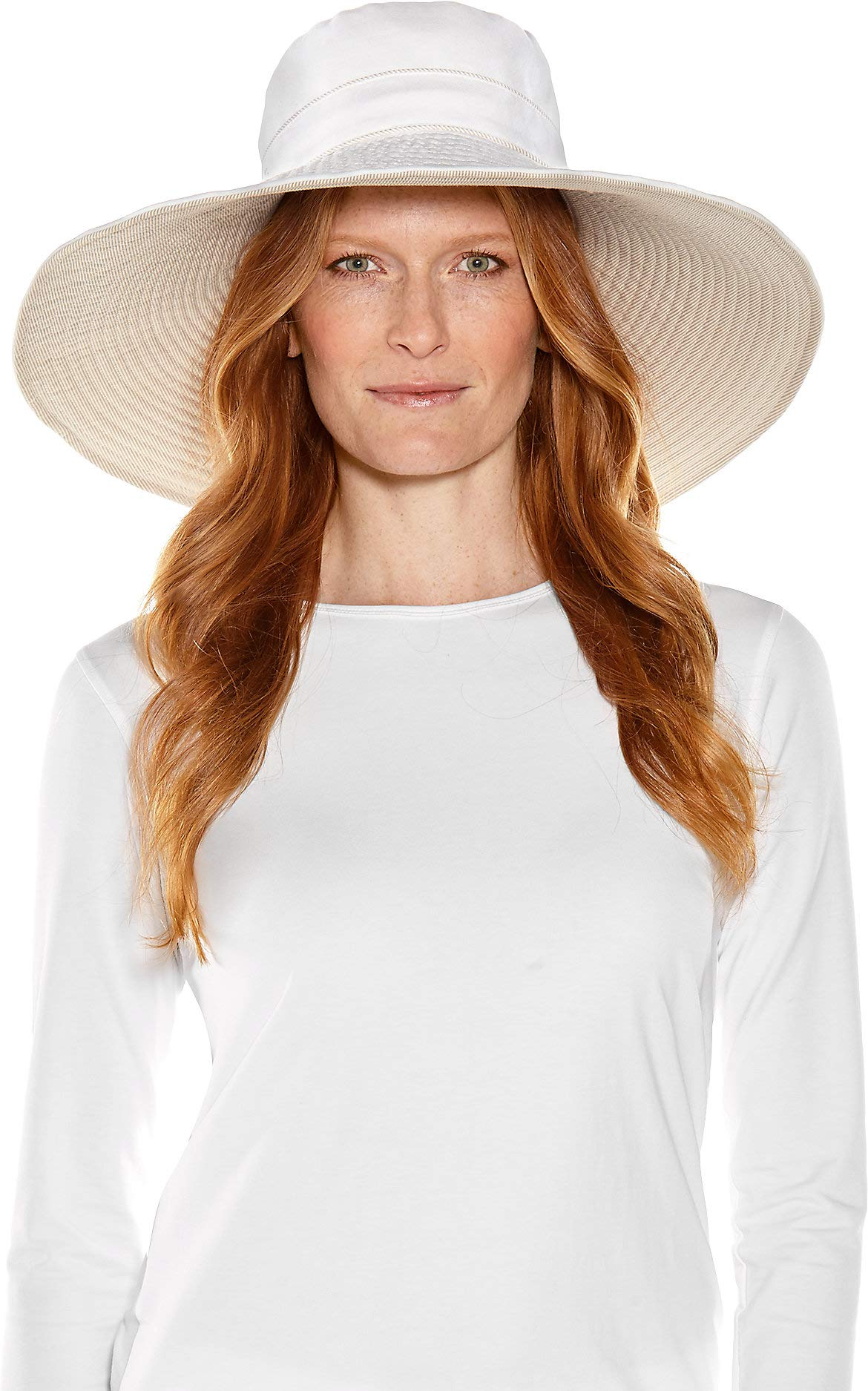 Coolibar UPF 50+ Women's Reversible Beach Hat - Sun Protective (One Size- White)