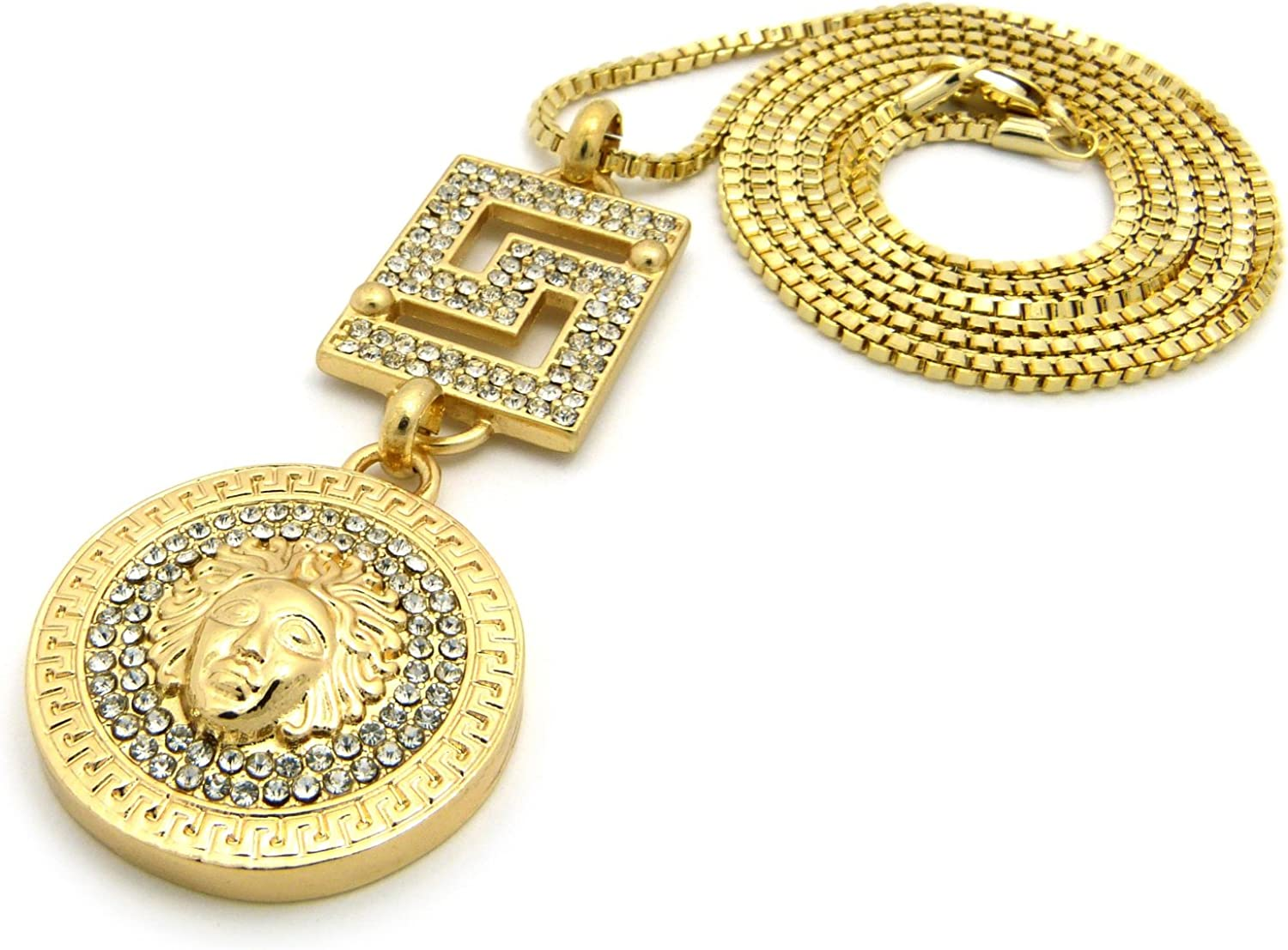 New Iced Out Medusa /& Square Pendant /&2mm//30 Box Chain Hip Hop Necklace RC612G