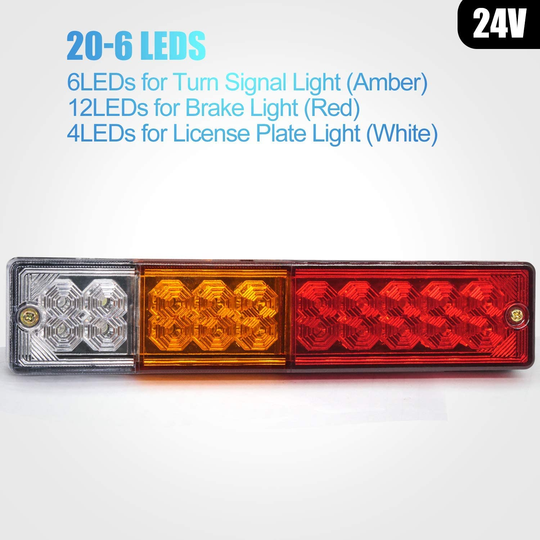 Biqing 2PCS 24V Trailer Rear Lights,20 LED Rear Brake Lights Tail Light Lamp Turn Signal Reverse Brake Lamp Waterproof Universal for Trailer Truck Lorry Caravan Van Tractor