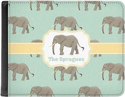 Cute Elephants Genuine Leather Mens Bi-fold Wallet Personalized