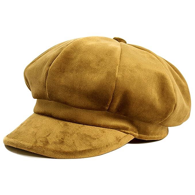 HowYouth® Berretto con Visiera Donna Invernale Ottagonale Baschi Cappello  Primavera di Velluto (Giallo)  Amazon.it  Abbigliamento 260bf357cc69