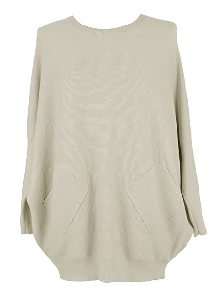 20fd75fdfd4 Ladies Italian Knitted Batwing Plait Back Jumper Women Angora Wool Mix  Lagenlook Top Plus Size  Amazon.co.uk  Clothing