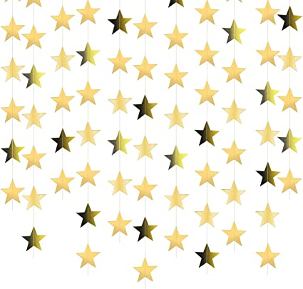 Birthday Christmas Party 156 Feet Bright Gold Paper Garland Hanging Decorations Holiday Glitter Gold Star Bunting Banner for Wedding Gold Star Garland Banner Decorations