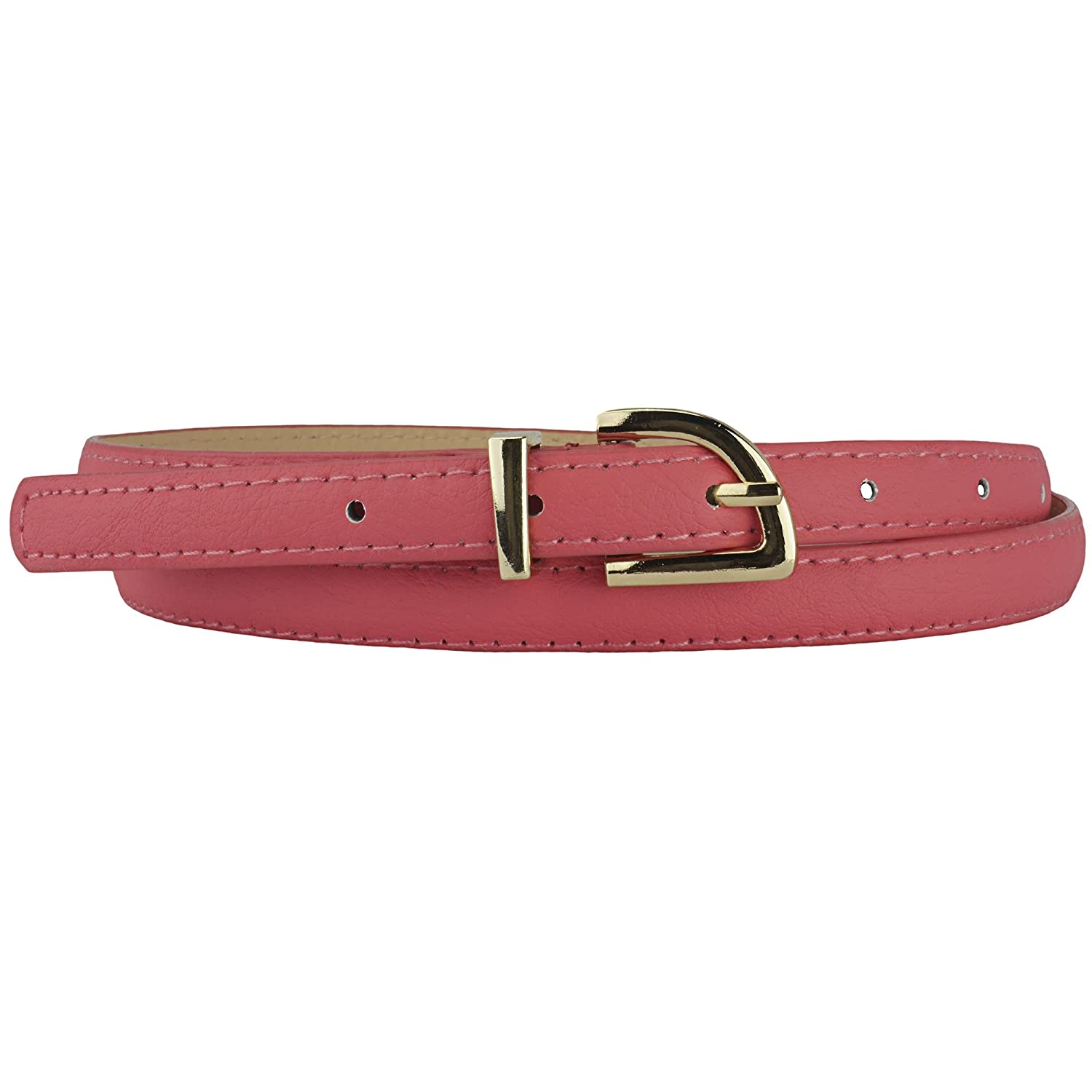 Simple and Elegant Skinny Belt with Gold Buckle