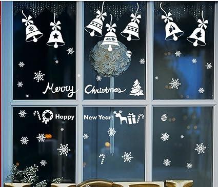 christmas bells window clings christmas window decorations 14pcs bells 58pcs snowflake christmas new - Christmas Window Decorations Amazon