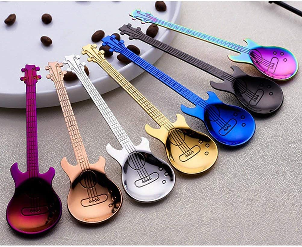 6 Pcs Guitar Pattern Dessert Spoon Coffee Teaspoon Gift Set Creative  Tableware