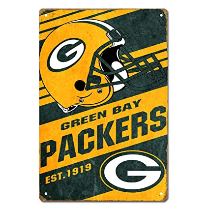 823c2c6b MamaTina Cool Vintage Green Bay Packers American Football Team Design Metal  Tin Signs for Home Wall Decor Size 12x8 Inches