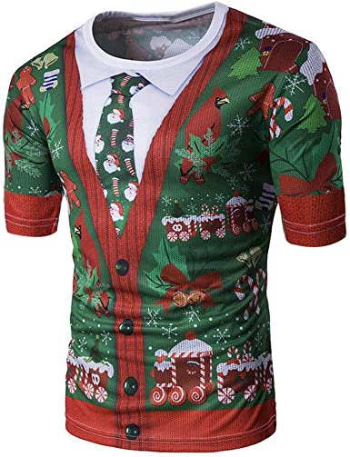 ღLILICATღ Camisa de Navidad para Caballero Traje de Navidad con Estampado en 3D Árbol de Navidad y Papá Noel. Buen Regalo en Navidad: Amazon.es: Ropa y accesorios