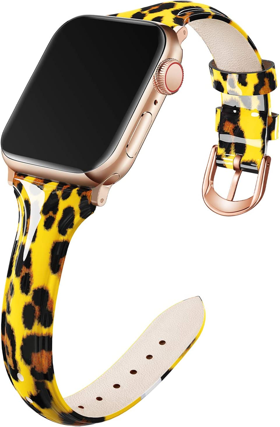 Adepoy Compatible for Apple Watch Bands 38mm 40mm, Non-Fade Slim Genuine Patent Leather Wristband for Women Apple iWatch Series Se/6/5/4/3/2/1, Yellow Leopard
