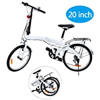 Ridgeyard 20 pulgadas bicicleta plegables plegable de 6 velocidades con soporte trasero LED Battery Light