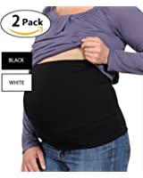 2 Pack Womens Maternity Belly Band Seamless Everyday Support Bands,Non-slip for Before&After Baby