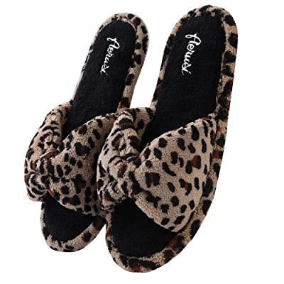 Aerusi Women's Plush Fleece Open Toe Memory Foam Bow Spa Slip On Slippers Bedroom Indoor House Shoes