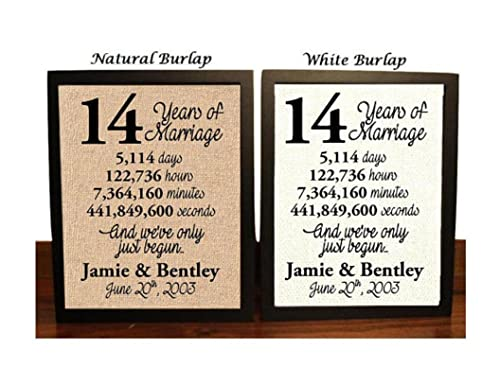 8 Year Anniversary Burlap Print  8th Anniversary  8th Anniversary Gift   8 Years Together  8th wedding Anniversary  8th Anniversary gift for