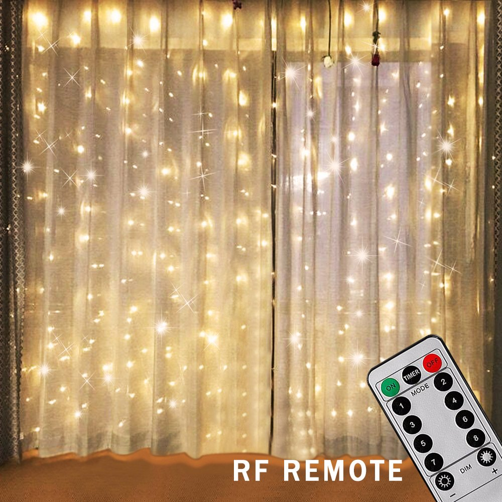 Bjour 300 LEDs Curtain Icicle Lights Christmas String Fairy Light Low-Voltage with 8 Lighting Modes RF Controller, Warm White