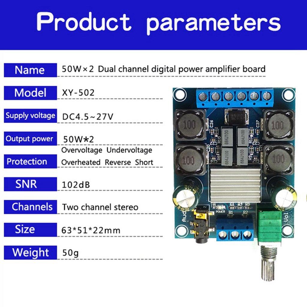 DC4.5-27V TPA3116 D2 50W+50W 50Wx2 Dual Channel Power Amplifier Board Stereo