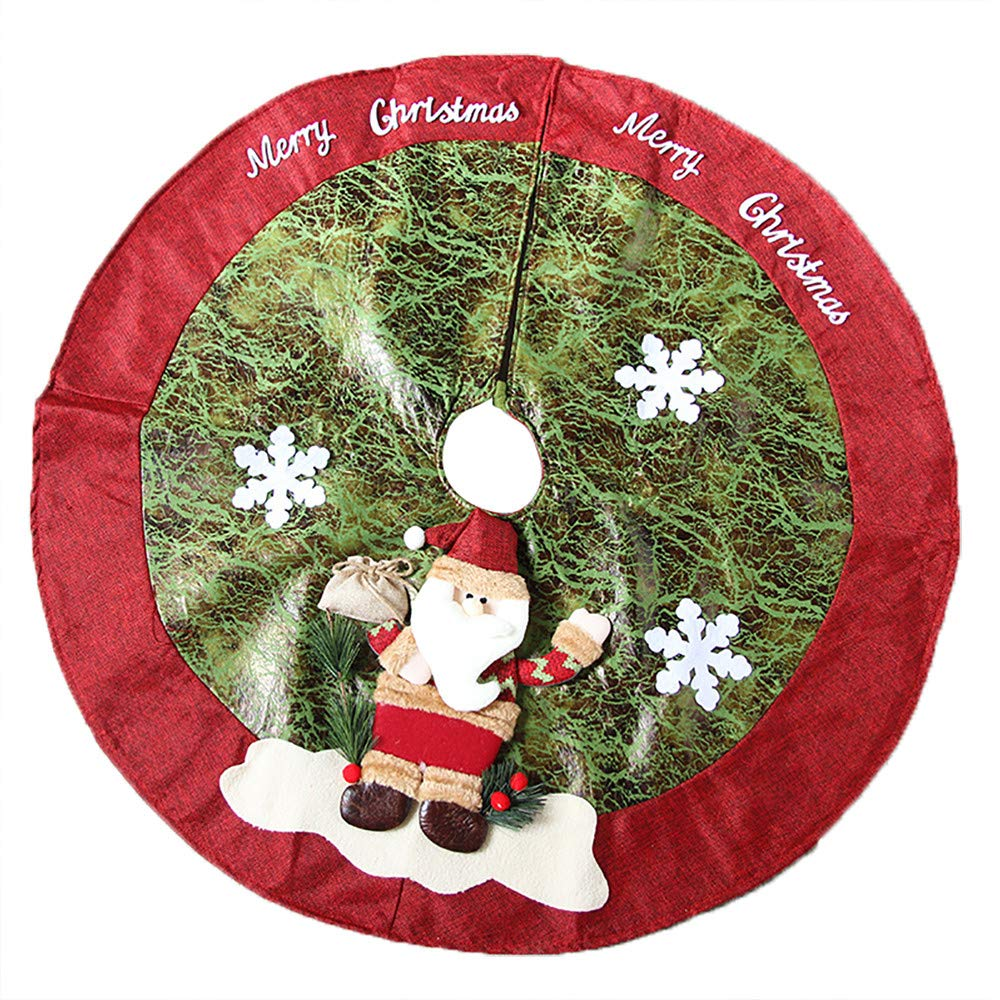 Diadia Red Christmas Tree Skirts Plush Faux Fur Handmade Tree Skirt Decorations for Indoor Outdoor Home Xmas Party Decor (Deer cart)