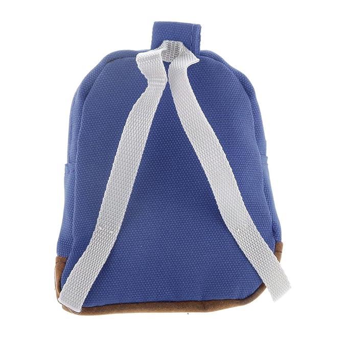 59deabeaf252 MagiDeal 1 6 Scale Dark Blue Backpack Shoulder Bag Dolls House Miniature  Accessory  Amazon.co.uk  Toys   Games