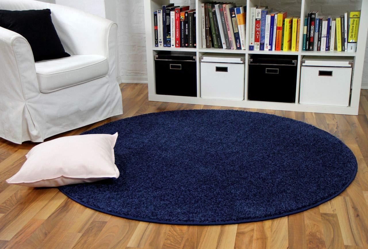 Hochflor Velours Teppich Mona Dunkelblau Rund in 7 Größen