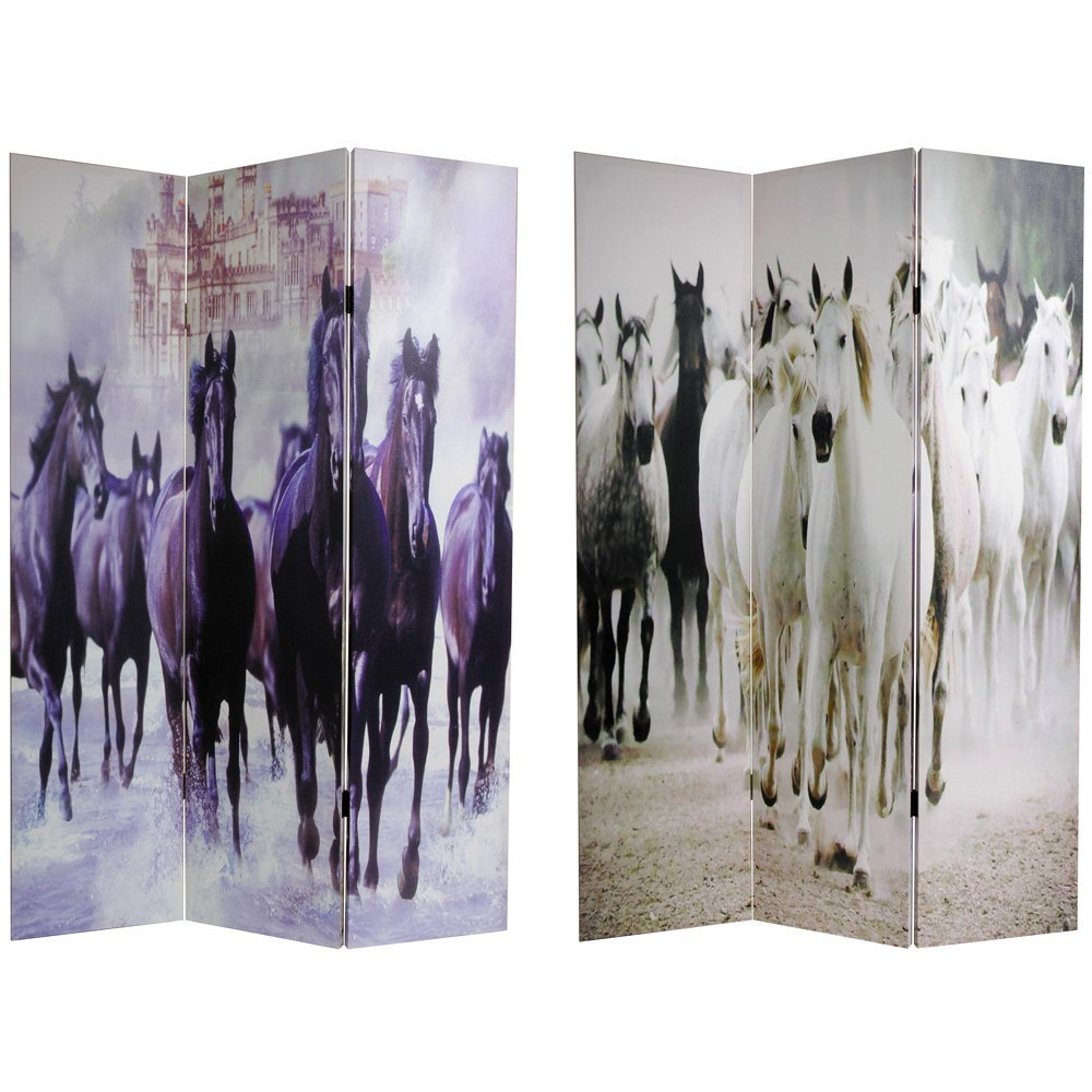 Oriental Furniture Equestrian Photo, 6-Feet Herds of Black and White Horses Art Print Floor Screen, 3 Panel CAN-HORSE