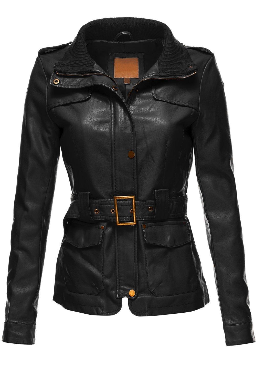 Luna Flower Women's Belted Babydoll Faux Leather Trenchy Coat Jackets Black Medium (LFWJA0018)
