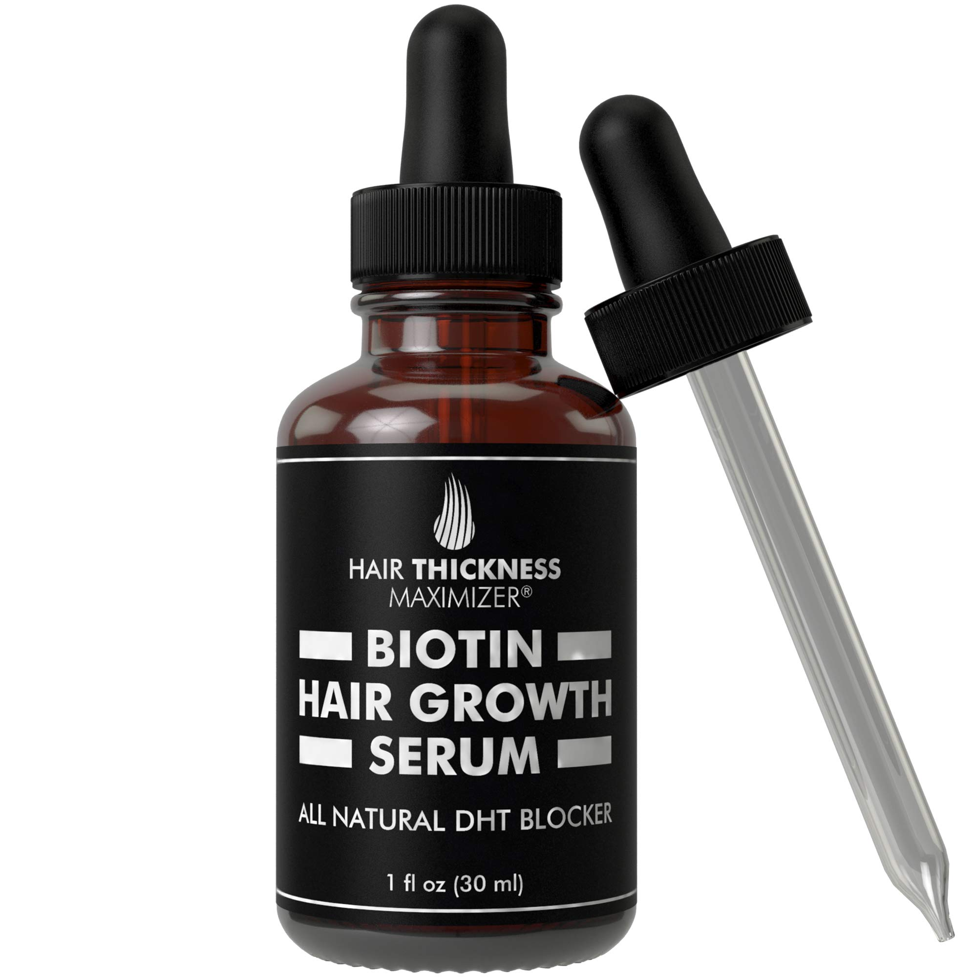 Hair Growth Serum with Biotin Oil by Hair Thickness Maximizer. For Hair Loss, Damaged, Dry, Frizzy Hair. Natural Thickening and Smoothing of Hair and Nourishing of Scalp for Women and Men (1oz) by Hair Thickness Maximizer