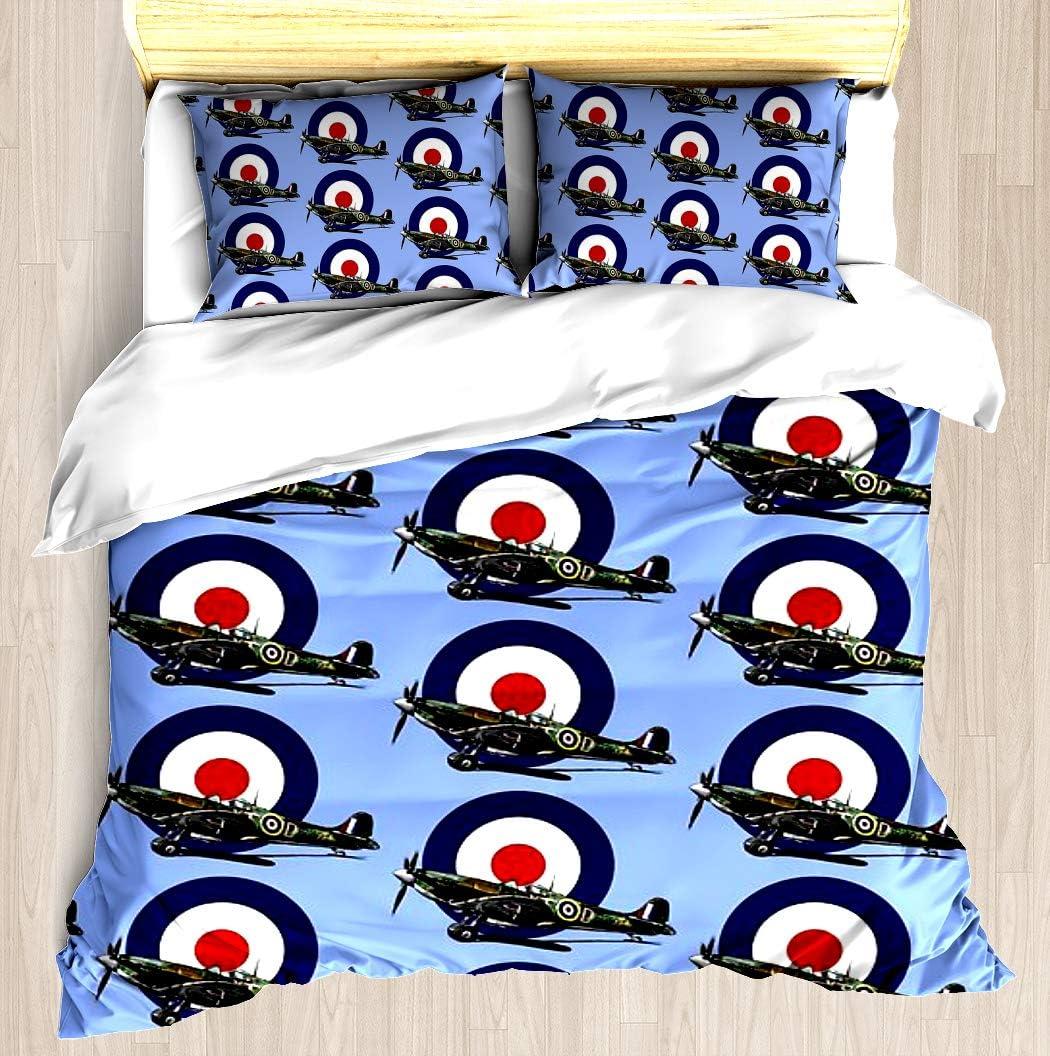 Amazon Com British Spitfire Fighter Plane Duvet Cover Set Soft Comforter Cover Pillowcase Bed Set Unique Printed Floral Pattern Design Duvet Covers Blanket Cover Queen Full Size Home Kitchen