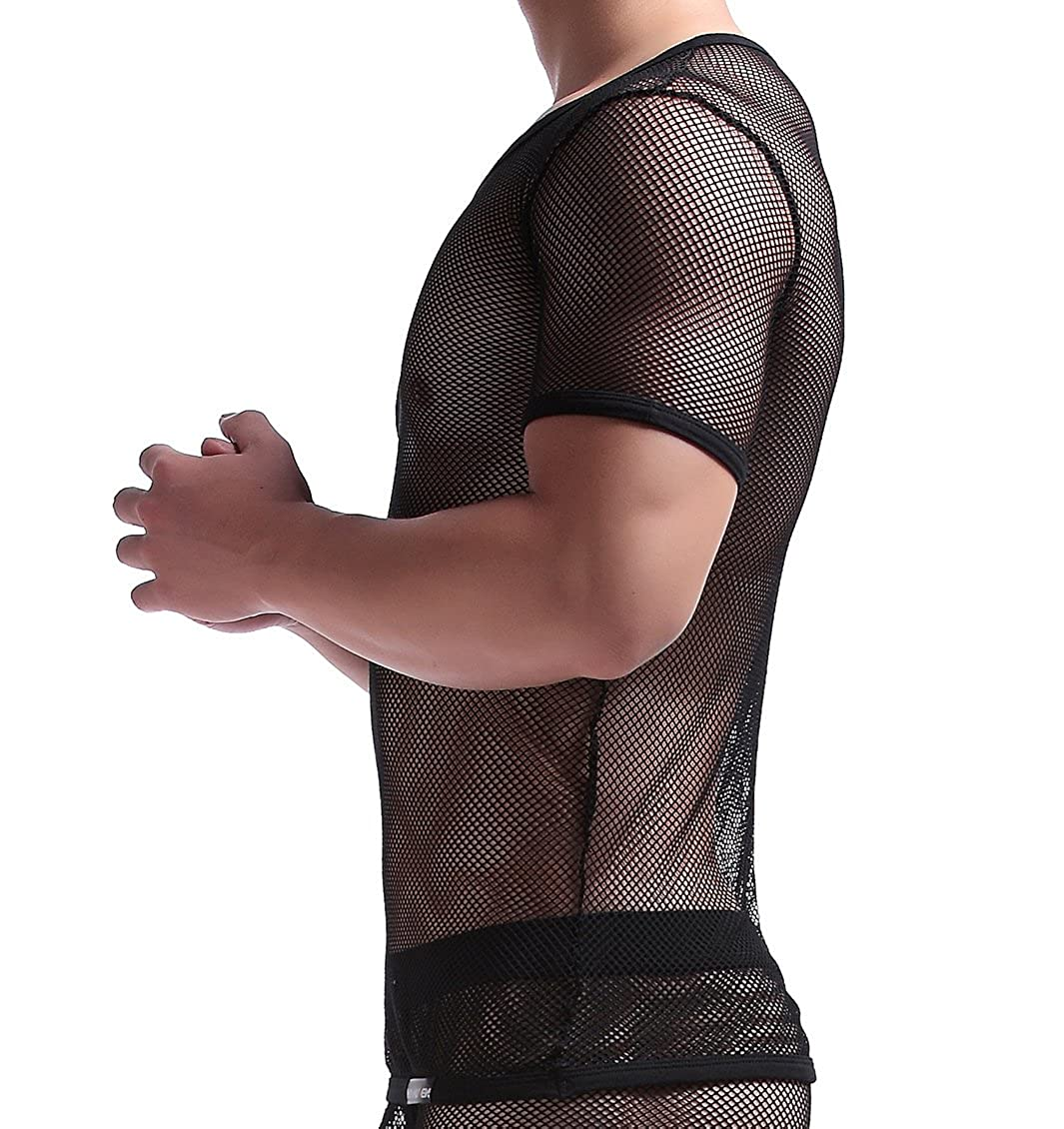 Manview Herren Shirt halb Arm schwarz Shirt halber Arm Netzhemd Herren