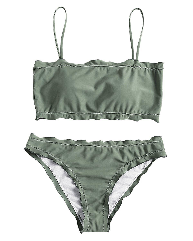 cad144ca61ca9 Amazon.com  ZAFUL Women s Spaghetti Strap Lettuce Trim Cami Two Piece  Bikini Sets  Clothing