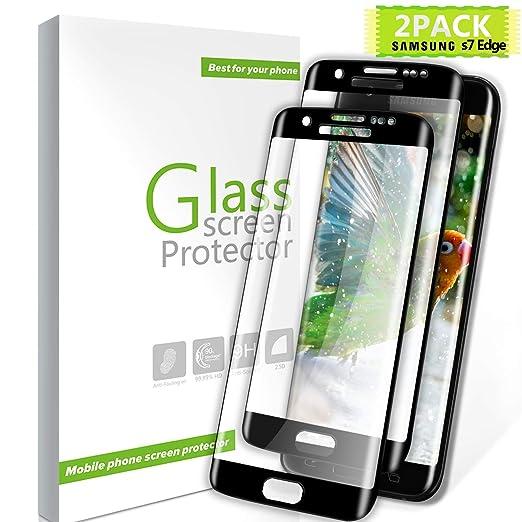 Youer Protector de Pantalla Galaxy S7 Edge, [2-Unidades] Alta Definición Cristal Vidrio Templado Premium, 9H Dureza, No se Rayan, Anti-Fingerprint, ...