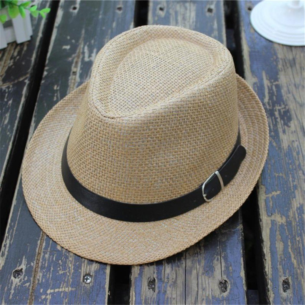 UCQueen Kids Straw Sun Beach Hat Short Brim Children Kids Summer Jazz Panama Trilby Fedora Hat Gangster Cap
