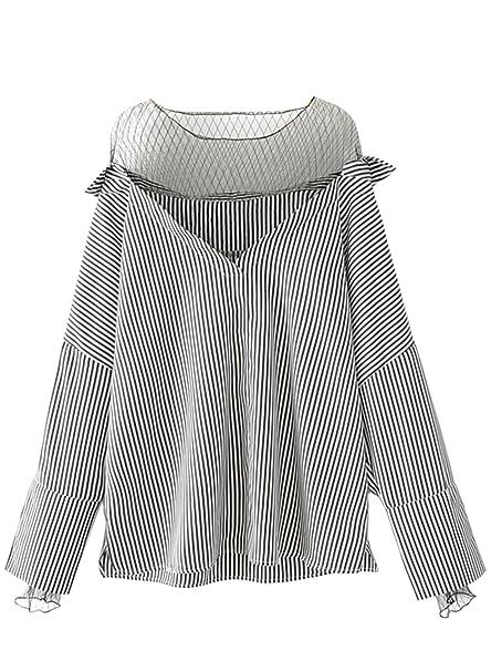 Azbro Mujer Moda Blusa Rayada Vertical de Malla,Gris L